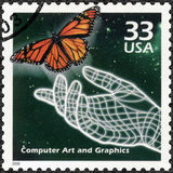 USA - 2000: shows Hand and butterfly, computer generated art, series Celebrate the Century, 1990s Royalty Free Stock Photos