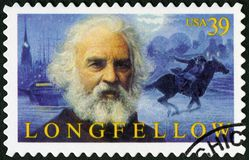 USA - 2007: Shows Henry Wadsworth Longfellow 1807-1882, amerikanischer Dichter stockbilder