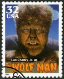 USA - 1997: shows portrait of Creighton Tull Lon Chaney 1906-1973 as The Wolf Man, series Classic Movie Monsters. UNITED STATES OF AMERICA - CIRCA 1997: A stamp Royalty Free Stock Photos