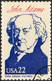 USA - 1986: shows portrait John Adams 1735-1826, second President, series Presidents of USA. UNITED STATES OF AMERICA - CIRCA 1986: A stamp printed in USA shows Royalty Free Stock Image