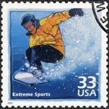 USA - 2000: Shows Snowboarder, erhöhte Popularität in extremem s Lizenzfreie Stockbilder
