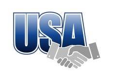 Usa sign handshake concept illustration Royalty Free Stock Photography