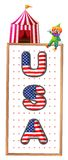 A USA signage with a clown and a circus tent Stock Photography