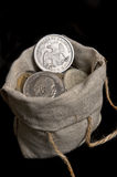 USA silver dollar in bag Royalty Free Stock Images