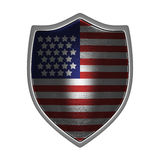 USA silver shield front lit. USA gold shield side lit isolated on Stock Images