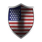 USA silver shield side lit. USA gold shield side lit isolated on Royalty Free Stock Image