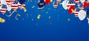 USA självständighetsdagenaffisch med ballongflaggan USA Illustratio royaltyfri illustrationer