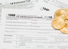 USA-skattdatalista 1040 för året 2012 Arkivfoton