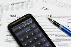 USA-skattdatalista 1040 för året 2012 Royaltyfri Bild