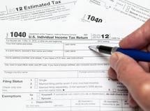 USA-skattdatalista 1040 för året 2012 Royaltyfria Bilder