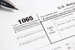 USA-skattform 1065 på tabellen Arkivbild