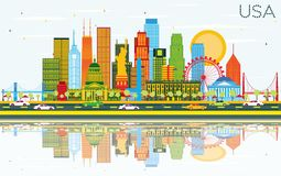 USA Skyline with Color Skyscrapers, Landmarks and Reflections. Vector Illustration. Business Travel and Tourism Concept with Modern Architecture. Image for Royalty Free Stock Photos