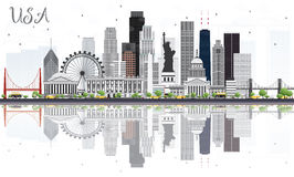 USA Skyline with Gray Skyscrapers, Landmarks and Reflections. Royalty Free Stock Image