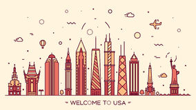 USA skyline silhouette illustration linear style Stock Images