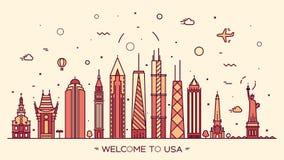 USA skyline silhouette illustration linear style vector illustration