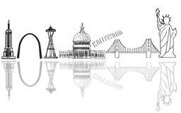 USA skyline sketch Royalty Free Stock Photography