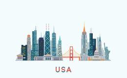 USA skyline. Vector illustration Royalty Free Stock Photos