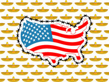 USA-slutgräns med Mexico Stoppa sombreron Översikt av Amerika med royaltyfri illustrationer