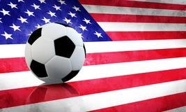 USA Soccer. Soccer ball on USA grunge flag Royalty Free Stock Images