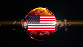 USA soccer ball turns into the world stock footage