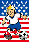 USA soccer player with flag background Stock Photo