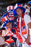 USA Soccer Supporters - FIFA WC. USA fans all dressed up in fancy dress costume to show support for their team at the 2010 FIFA soccer world cup Stock Image