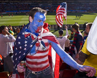 USA Soccer Supporters - FIFA WC. USA fan all dressed up in fancy dress costume to show support for his team at the 2010 FIFA soccer world cup Royalty Free Stock Images