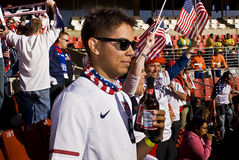 USA Soccer Supporters - FIFA WC. USA fans all dressed up in fancy dress costume to show support for their team at the 2010 FIFA soccer world cup Royalty Free Stock Image