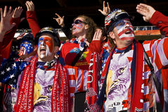 USA Soccer Supporters - FIFA WC. USA fans all dressed up in fancy dress costume to show support for their team at the 2010 FIFA soccer world cup Stock Images
