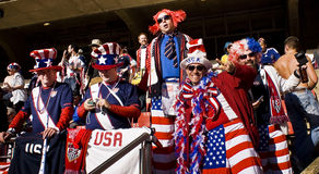 USA Soccer Supporters - FIFA WC. USA fans all dressed up in fancy dress costume to show support for their team at the 2010 FIFA soccer world cup Royalty Free Stock Photography