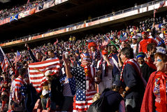 USA Soccer Supporters - FIFA WC. USA fans all dressed up in fancy dress costume to show support for their team at the 2010 FIFA soccer world cup Royalty Free Stock Photo