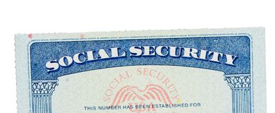 Free USA Social Security Card Isolated Against White Stock Photography - 124297412