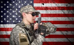 USA soldier with gun Stock Image