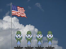 USA soldiers. On parade ground against a cloudy blue sky Stock Image