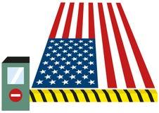 USA som Förenta staterna sätter avgiften, sätter egen på gods och stänger gränser för invandrare isolerad vektorclipartillustrati vektor illustrationer