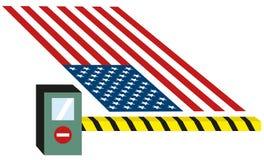 USA som Förenta staterna sätter avgiften, sätter egen på gods och stänger gränser för invandrare isolerad vektorillustration royaltyfri illustrationer