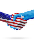 USA and Somalia flags concept cooperation, business, sports competition. USA and Somalia, countries flags, handshake concept cooperation, partnership, friendship royalty free stock photo