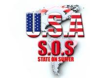 USA SOS. Illustration mit Symbolcharakter zur allgemeinen Finanzsituation in Amerika Stock Photos