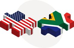 USA and South Africa Flags in puzzle Stock Images