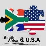 USA and South Africa flags in puzzle Stock Image