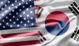 USA and South Korea. USA and the nations of the world. A series of images with USA flag royalty free stock photo