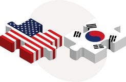 USA and South Korea Flags in puzzle Royalty Free Stock Images