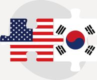 USA and South Korea Flags in puzzle Stock Image