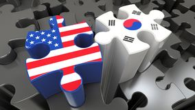 USA and South Korea flags on puzzle pieces. Political relationship concept. 3D rendering Stock Image