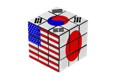 USA, South Korea and Japan flag puzzle shape. Stock Images