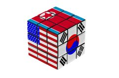 USA, South Korea and North Korea flag puzzle shape. Stock Photo