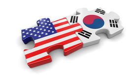 USA and South Korea puzzle from flags Royalty Free Stock Photo
