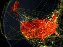 USA from space with network royalty free stock images
