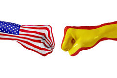 USA and Spain flag. Concept fight, business competition, conflict or sporting events. USA and Spain country flag. Concept fight, war, business competition stock images