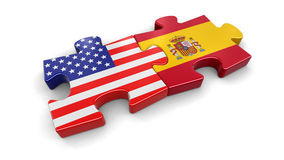 USA and Spain puzzle from flags Stock Images
